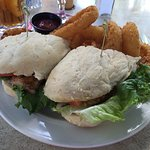 Blackened walleye fish sandwich with onion rings