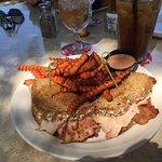 Roasted turkey melt sandwich with sweet potato fries