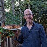 Robert with his exquisite apple-pecan pie (sort of like Tarte Tatin)