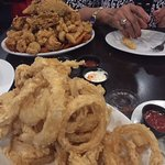 seafood platter + onion rings