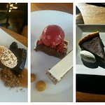 Dark chocolate flourless torte, carrot zucchini layer cake, and a Mexican chocolate tart