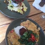 Crispy Skin Duck with Thai Red Curry & fish of the day
