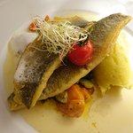 3. Gang: Fischfilet mit Gemüse und Kartoffepüree