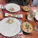 salad, rice, chicken or scampi - very delicious