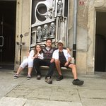 Dad and kids outside the Giger museum.
