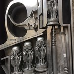 A typical Giger 'Biomechanoid' sculpture outside the museum entrance.