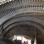 The Alien ribbed roof of the adjoining Giger bar in Gruyeres.