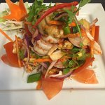 Mixed seafoods ( king prawns , squid , green muscle , fish ) salad with home made Thai spicy chi