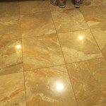Bath floor marble is genuine.