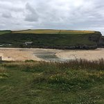View of Mawgan Porth beach from hotel grounds