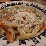 penne primavera with parmesan cheese, yum!