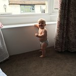 My son at the window seat.