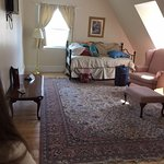 This shows the living room and trundle bed.