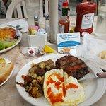 Steak & Eggs for breakfast & Huevos Rancheros (left)