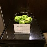 Green apples are provided & free for the guests by the elevator entrance.