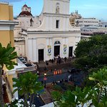 View of church from rooftop pool
