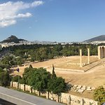 Sunny morning view from the breakfast table towards the Temple of Olympian Zeus and beyond