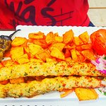 Chicken Breast Kabob - very juicy, perfectly seasoned, with a side of Armenian Potatoes and Roas