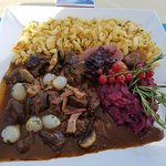 Venison stew with spaetzle.