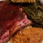 Succulent ribs joined by whipped sweet potatoes, collards and cornbread