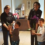 My boys giving some #hebblooms love to Grand Club Concierge's Miss Judy & Miss Ramir!