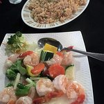 Fried Rice and King Prawns with Vegetables