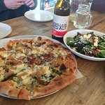 bacon kale whole clove garlic pizza