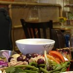 Salade Nicoise, cafe au lait, apple cider