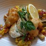 Monkfish with Prawn Tempura and Chili and Mango Salsa