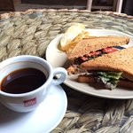 Tuna and apple sandwich with illy coffee