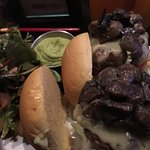Beef sliders with mushrooms and a side of their wonderful strawberry and goat cheese salad