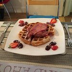 Colin's breakfast waffles with bacon and maple syrup