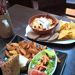 chicken buritto & chili con carne with breads and tortilla chips