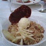 dessert au choix dans le menu: crumble aux pommes