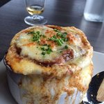 My French onion soup brought out by chef