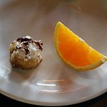 Fried Banana desert with orange