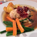 Pollo Val d'Aosta griddled chicken fillet with roasted potatoes, green beans, and carrots