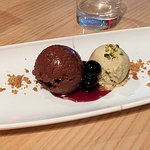 chocolate mousse, marinated cherries, pistachio ice cream