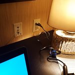 One available outlet if you want to use the desk lamp. Bring a multiple outlet plug or cord.