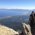 Steep fallaway about 500 yards from summit looking towards S. Lake Tahoe