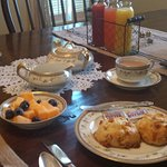 AMAZING Apricot Butterscotch scones with fresh juice!