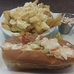 Lobster roll with poutine