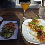 lemongrass shrimp skewers and ahi tuna poke