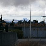 view of ngauruhoe (center) and ruapehu volcanoes from museum carpark