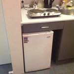 Apartment kitchen. note rusty hot plate and rusty fridge complete with sticker covering damage