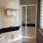 Clean and great shower -- good pressure and temperature.