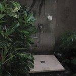 Photos of the outdoor bathroom in the valley view villa.