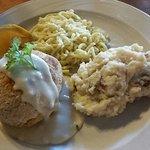 Chicken Kiev (lower left), spaezle, twice baked potatoes