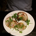 Steamed trio of Queens scallops with glass noodles