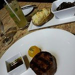 Filet, twice baked potato, mushrooms and coconut mojito